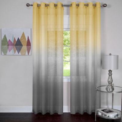 Rainbow Grommet-Top Sheer Curtain Panel