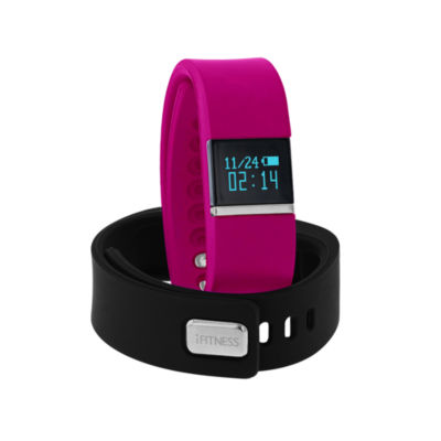 Ifitness Ifitness Activity Tracker Silver/Fuschia And Black Interchangeable Band Unisex Multicolor Smart Watch-Ift2436bk668-338