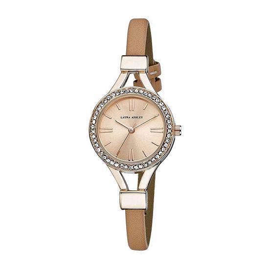 Laura Ashley Womens Crystal Accent Rose Goldtone Strap Watch-La31025rg