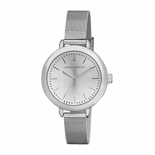 Laura Ashley Mesh Womens Silver Tone Strap Watch-La31026ss