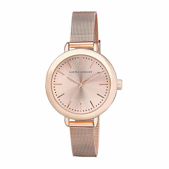 Laura Ashley Mesh Womens Rose Goldtone Strap Watch-La31026rg
