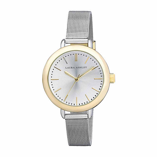 Laura Ashley Mesh Womens Two Tone Strap Watch-La31026tt