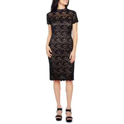 Onyx Nites Short Sleeve Floral Sheath Dress