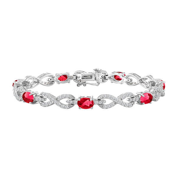 Womens 7 1/2 Inch Lab-Created Ruby & Lab-Created White Sapphire Sterling Silver Chain Bracelet