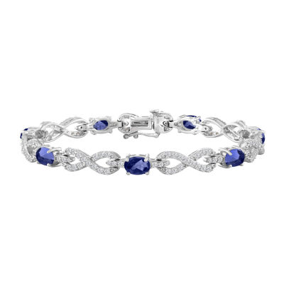 Womens 7 1/2 Inch Blue and White Lab-Created Sapphire Sterling Silver Chain Bracelet
