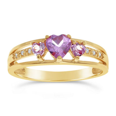 Womens Diamond Accent Lab Created Purple 14K Gold Over Silver Cocktail Ring