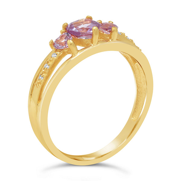 Womens Diamond Accent Lab Created Purple Gold Over Silver Cocktail Ring
