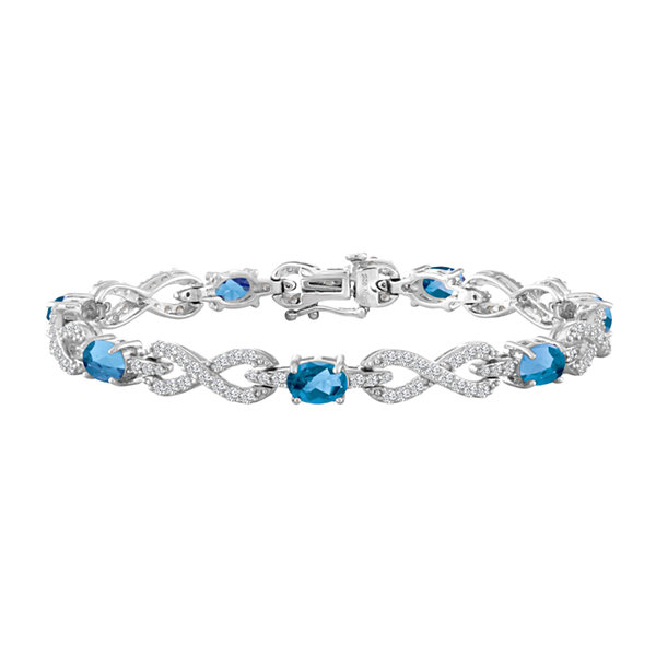 Womens Genuine Blue Topaz & Lab-Created White Sapphire Sterling Silver 7 1/2 Inch Chain Bracelet