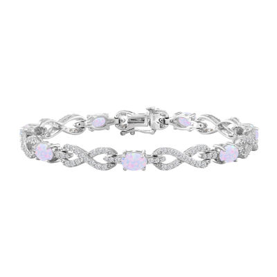 Womens Lab-Created Opal & Lab-Created White Sapphire Sterling Silver 7 1/2 Inch Chain Bracelet