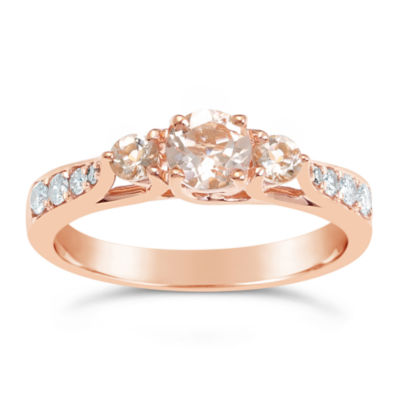Womens 1/7 CT. T.W. Pink Morganite 10K Gold 3-Stone Ring