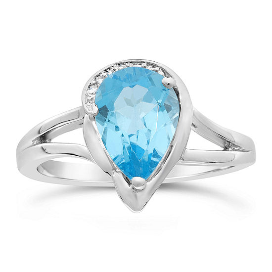 Womens Diamond Accent Genuine Blue Topaz Sterling Silver Pear Cocktail Ring