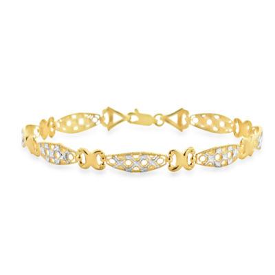 Womens 7 1/2 Inch 10K Gold Link Bracelet
