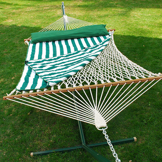 Double Cotton Rope With Pad And Pillow Hammock
