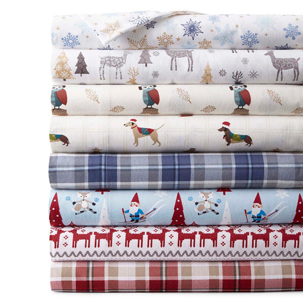 JCPenney Home Print Flannel Sheet Set