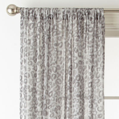 Royal Velvet Cherise Leopard Print Rod-Pocket Sheer Curtain Panel