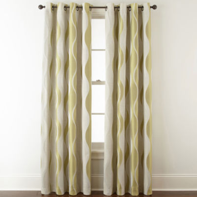 Studio Linen Swirl Room Darkening Grommet-Top Curtain Panel