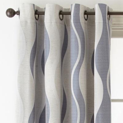 Studio Linen Swirl Room Darkening Grommet-Top Curtain Panel