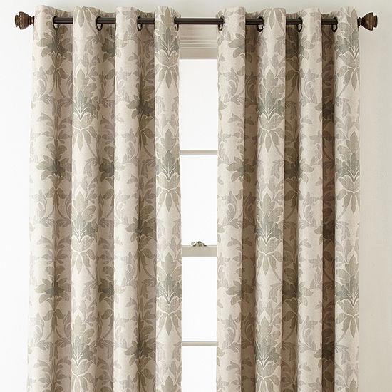 Linden Street Aurora Haven Damask Energy Saving Blackout Grommet-Top Curtain Panel