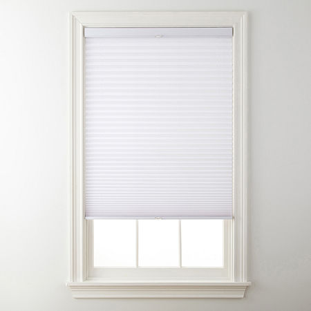 """JCPenney Home Top-Down/Bottom-Up Cordless 1"""" Linen Pleated Shade - FREE SWATCH, One Size , White"""