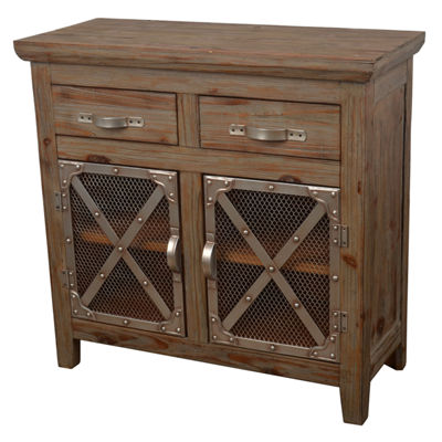 Decor Therapy Chicken Wire 2-Drawer Storage End Table