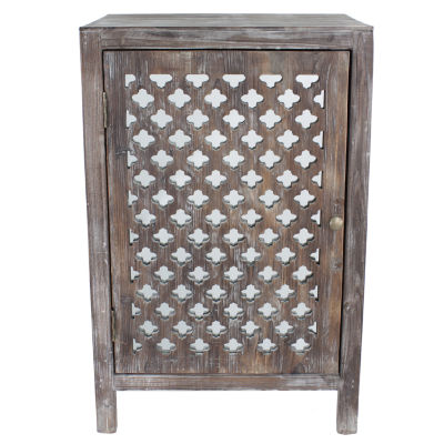 Decor Therapy Distressed Quatrefoil Mirrored End Table