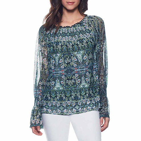Skyes The Limit Tahitian Paradise Long Sleeve Boat Neck Knit Blouse-Plus