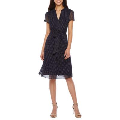 MSK Short Sleeve Dot Shirt Dress