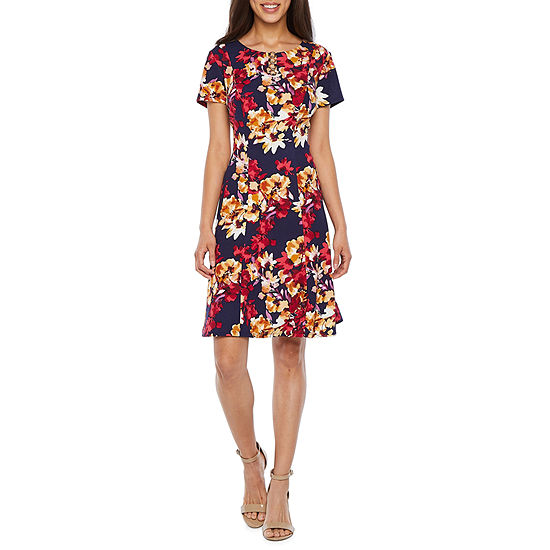 Alyx Short Sleeve Floral Fit Amp Flare Dress Color Berry