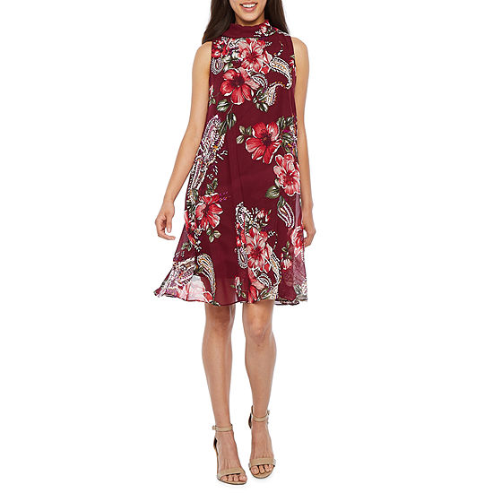 Robbie Bee Sleeveless Floral Puff Print A Line Dress