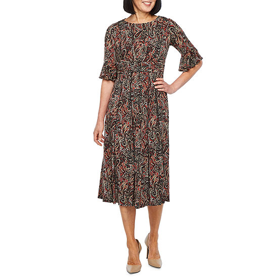 Perceptions 3/4 Bell Sleeve Paisley Fit & Flare Dress