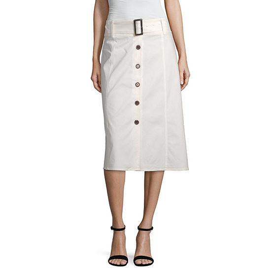 Worthington Button Front A-Line Skirt - Tall