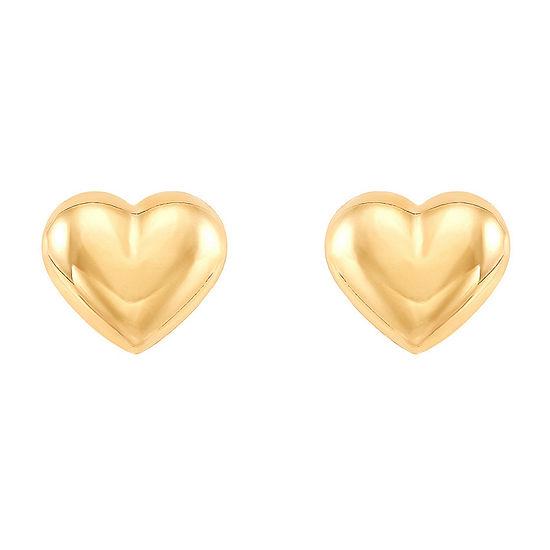 10K Gold 5.6mm Heart Stud Earrings