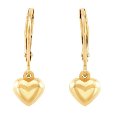 10K Gold Heart Drop Earrings