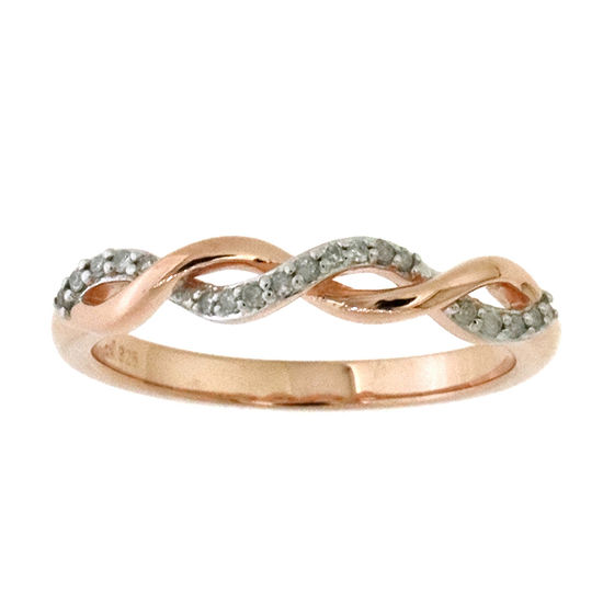 Womens 2.5MM 1/10 CT. T.W. Genuine Diamond 14K Rose Gold Over Silver Band