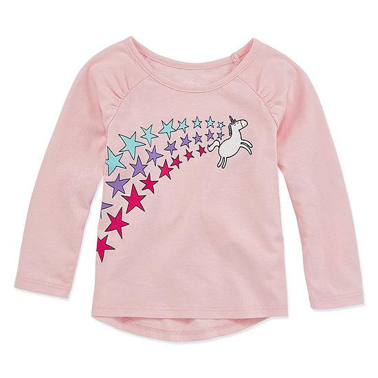 Okie Dokie Girls Crew Neck Long Sleeve Graphic T-Shirt - Baby