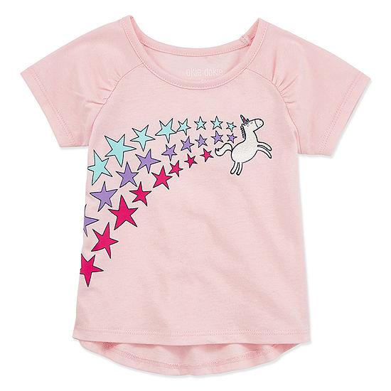 Okie Dokie Baby Girls Crew Neck Short Sleeve Graphic T-Shirt