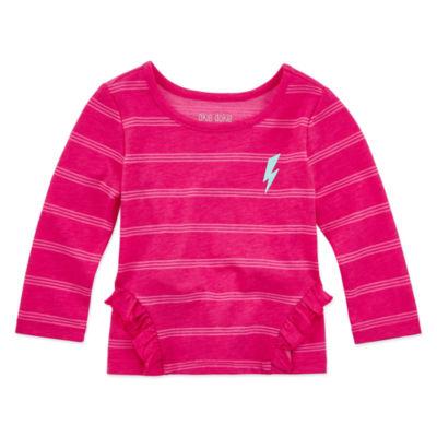 Okie Dokie Baby Girls Crew Neck Long Sleeve Graphic T-Shirt