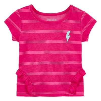 Okie Dokie Girls Crew Neck Short Sleeve Graphic T-Shirt