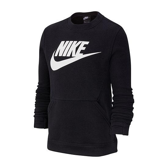 Nike Cotton Fleece Boys Crew Neck Long Sleeve Sweatshirt - Big Kid