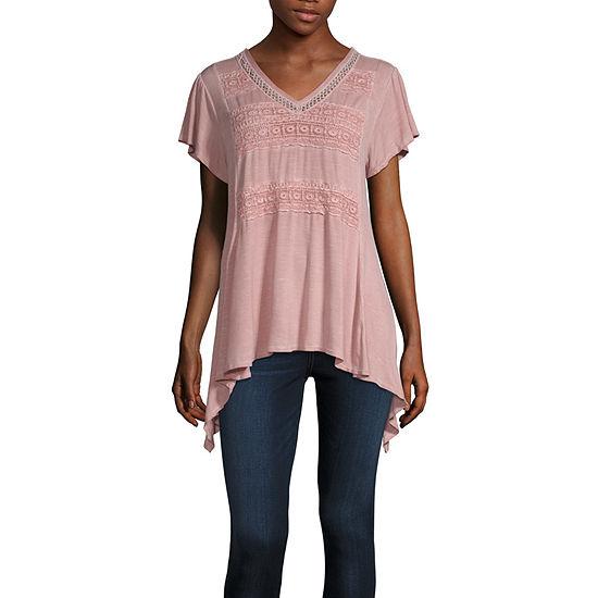 Artesia Womens V Neck Short Sleeve Knit Blouse