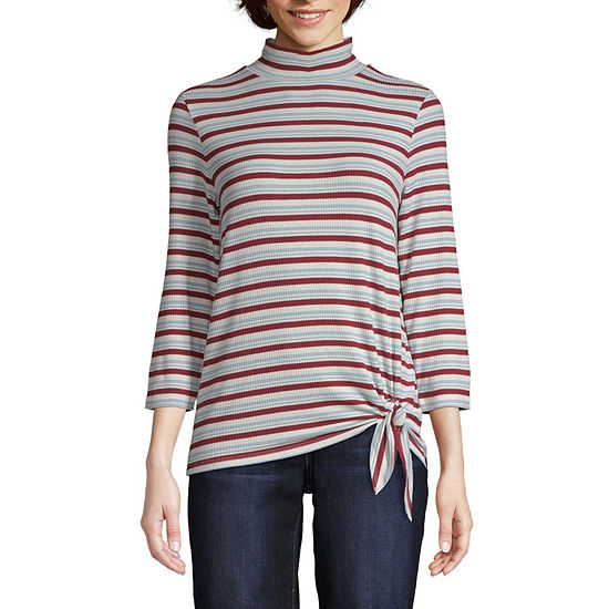 St. John's Bay Womens 3/4 Sleeve Mock Neck Top