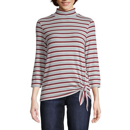 St. John's Bay Womens 3/4 Sleeve Mock Neck Top, X-large , Multiple Colors