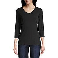 St. Johns Bay-Womens V Neck 3/4 Sleeve T-Shirt