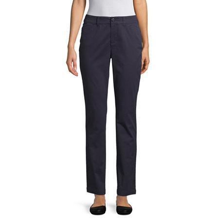 St. John's Bay Womens Mid Rise Straight Flat Front Pant, 14 , Blue
