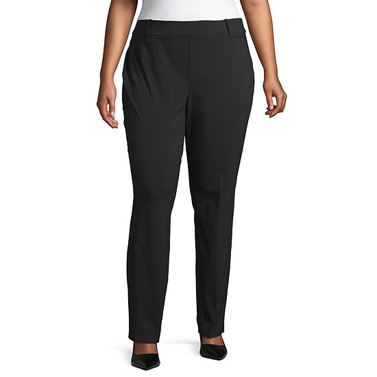 Liz Claiborne Millenium Pull On Straight Pant - Plus
