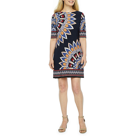 Studio 1 3 4 Sleeve Shift Dress Petite