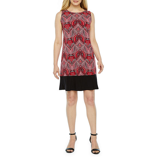 Ronni Nicole Sleeveless Paisley Shift Dress-Petite