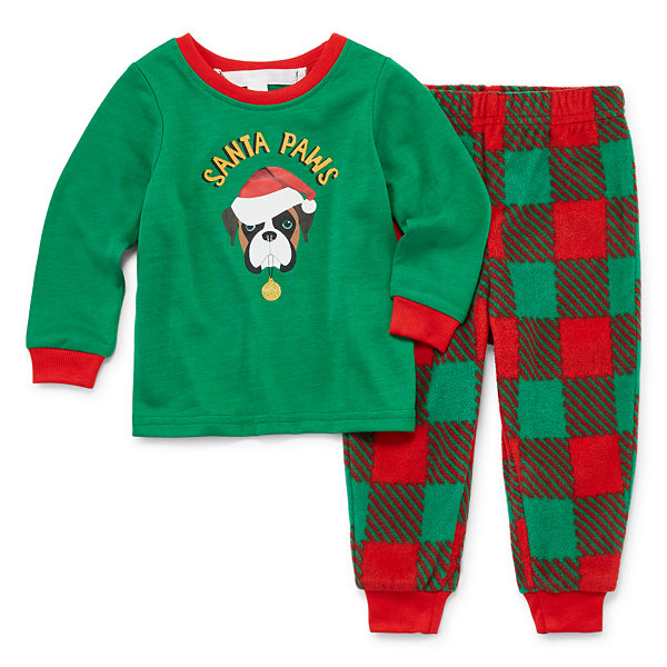 Sleepy Nites Red and Green Buffalo Check Family 2 Piece Pajama Set -Unisex Baby