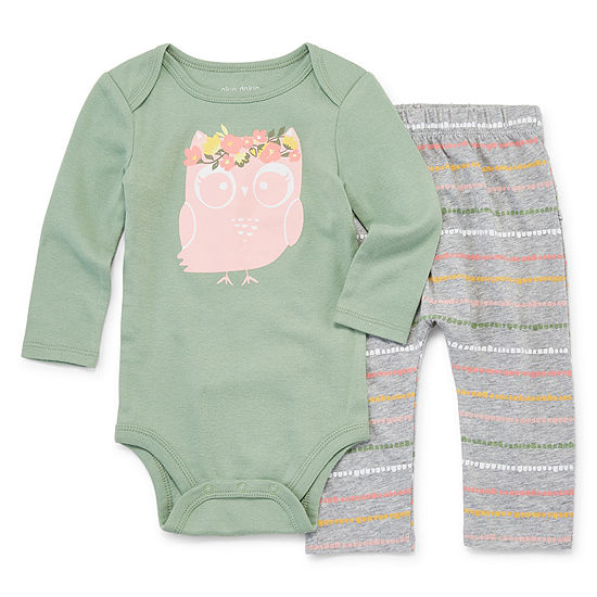 Okie Dokie 2 Pc Bodysuit Set Baby Girls