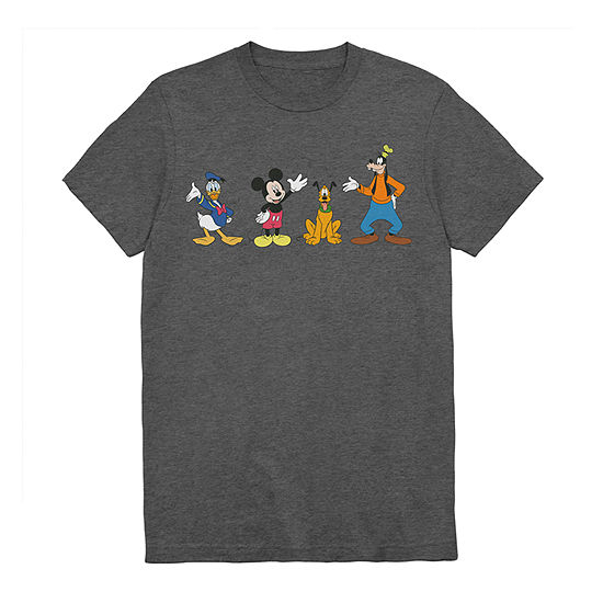 Mens Crew Neck Short Sleeve Mickey and Friends Graphic T-Shirt